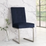 Tivoli Pair of Upholstered Cantilever Chairs - Dark Blue Velvet