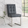 Tivoli Pair of Upholstered Cantilever Chairs - Mottled Black Faux Leather