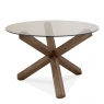 Turin Dark Oak Round Glass Top Dining Table