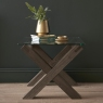 Turin Dark Oak Glass Top Lamp Table
