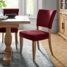 Indus Rustic Oak Upholstered Dining Chair (Crimson Velvet)