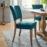 Indus Rustic Oak Pair of Upholstered Dining Chairs (Sea Green Velvet)