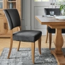 Indus Rustic Oak Pair of Upholstered Dining Chairs (Gun Metal Velvet)