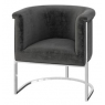 Martina Dark Grey Velvet Lounge Chair by Torelli