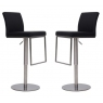 Enzo Black Faux Leather Bar Stools (Set of 2)